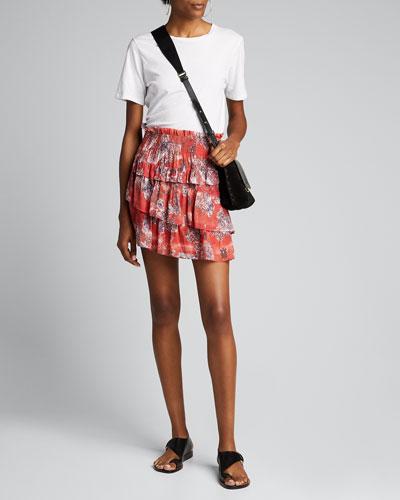Herty Printed Tiered Short Skirt