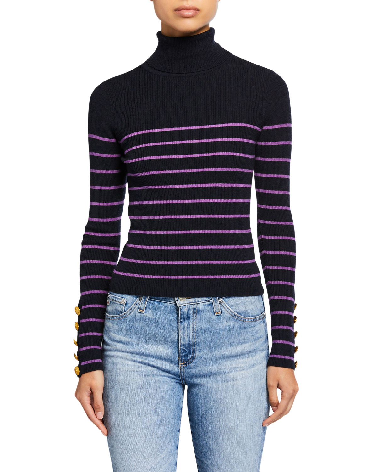 A.l.c Sweaters DESI STRIPED TURTLENECK SWEATER
