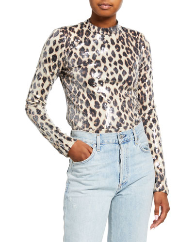 Marshall Sequined Leopard-Print Top