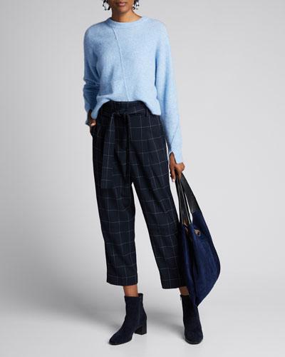 Windowpane Belted Menswear Pants