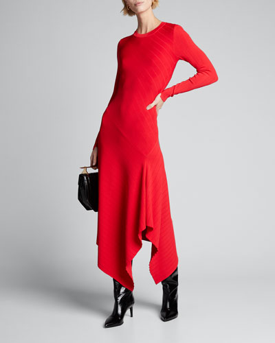 Viviana Asymmetrical Long-Sleeve Dress