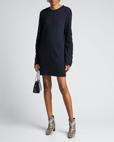 Ribbed Long-Sleeve Shift Dress