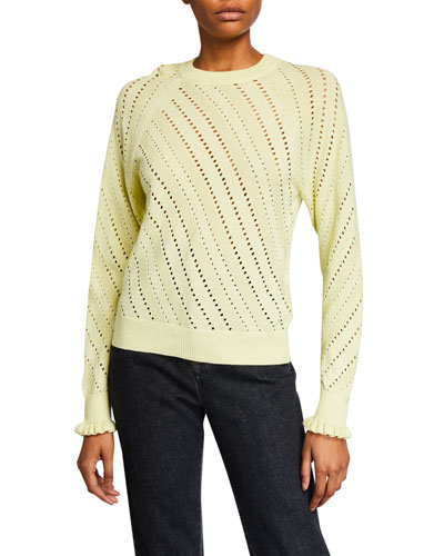 Crewneck Pointelle Pullover Sweater