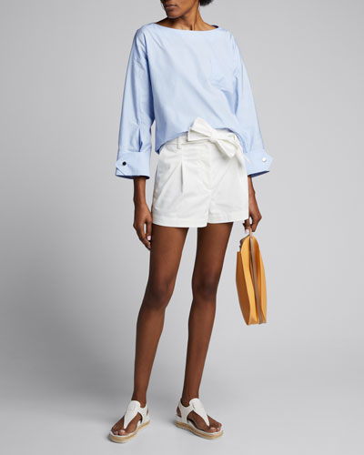 Snap-Cuff Poplin Long-Sleeve Blouse