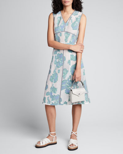 Abstract Daisy Fil Coupe Midi Dress