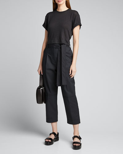 Menswear Cropped Belted Pants