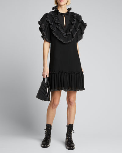 High-Neck Ruffle Shift Dress