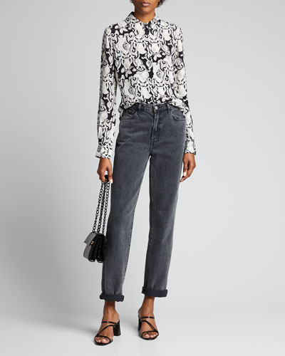 Abstract Printed Button-Down Top