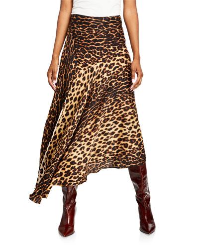 Lev Leopard-Print Asymmetrical Midi Skirt
