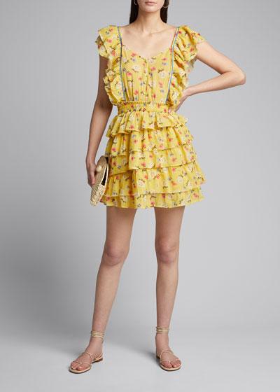Phyllis Floral Print Flutter-Sleeve Mini Dress
