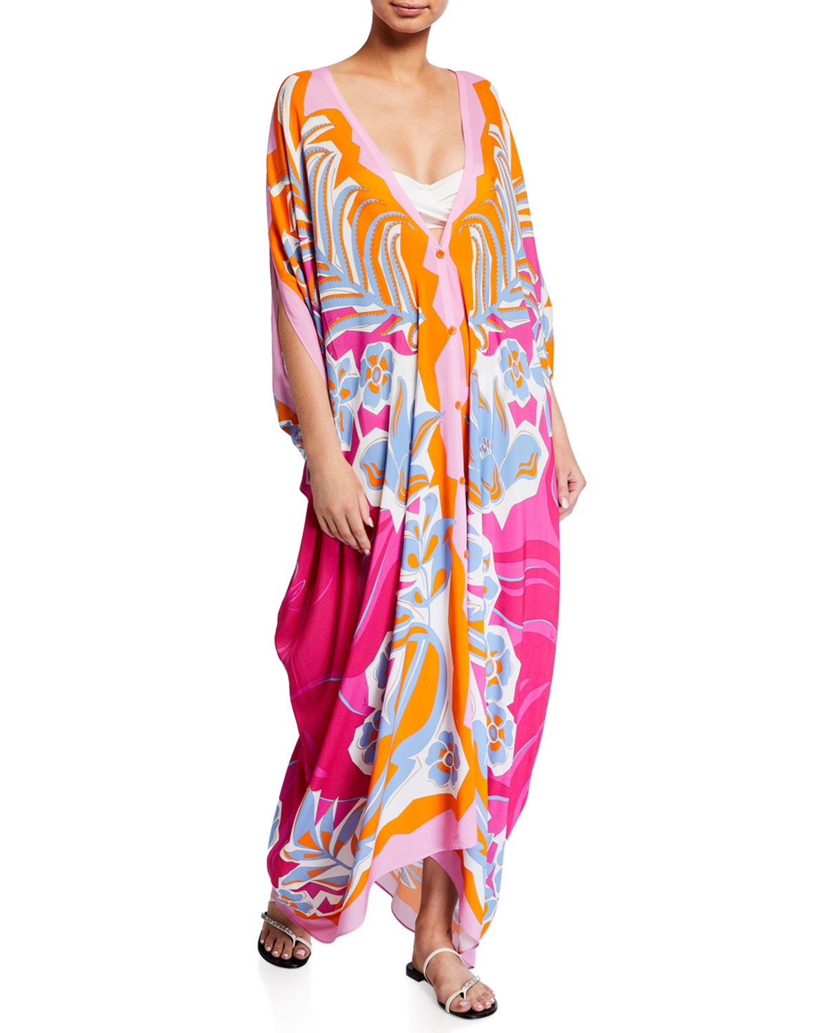 Emilio Pucci Tops PRINTED BUTTON-FRONT KAFTAN