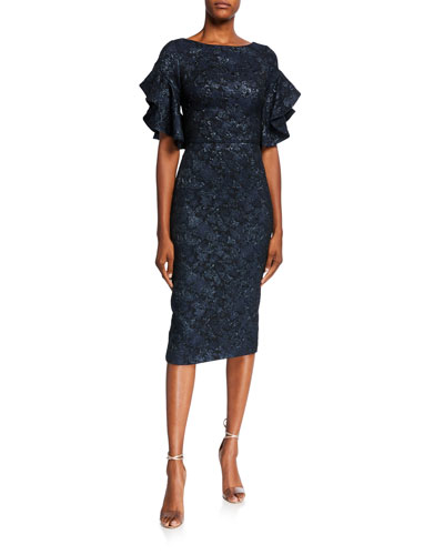 Ruffled Elbow-Sleeve Jacquard Sheath Dress