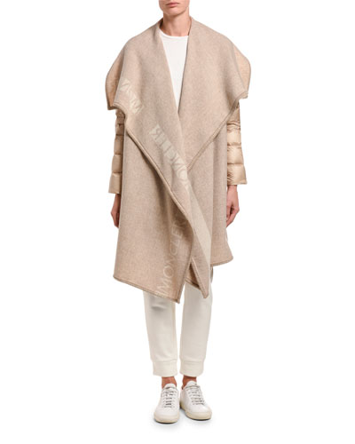 Mantella Relaxed Puffer-Sleeve Wool Coat