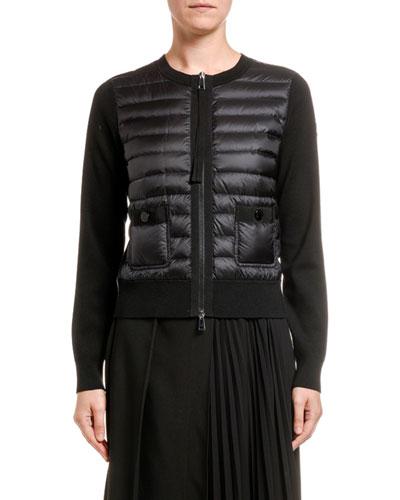 Down-Knit Combo Zip Sweater