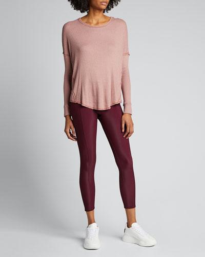 Waffle Knit Raglan-Sleeve Shirt