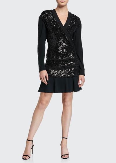 Mara Tiered Sequined Long-Sleeve Ruffle Dress