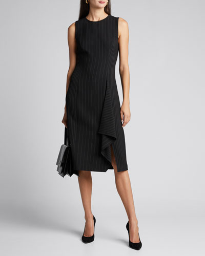 Elm Pinstripe Sleeveless Ruffle Dress