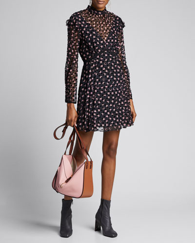 Elinor Textured Dot Ruffle Short Dress