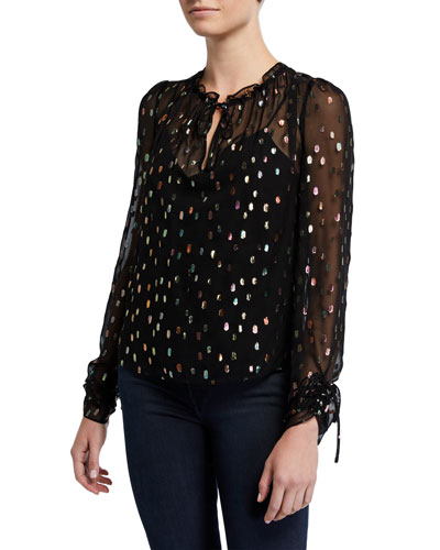 Lilian Metallic Long-Sleeve Top