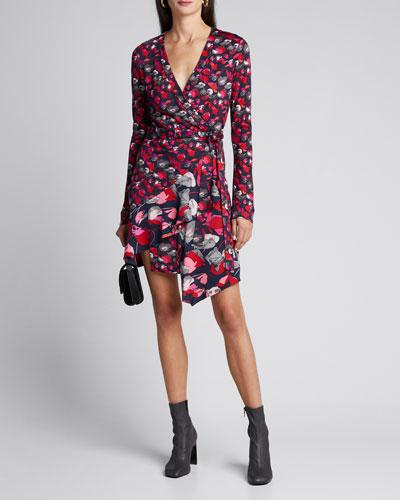 Elita Floral Long-Sleeve Asymmetrical Wrap Dress