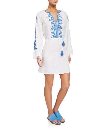 Embroidered Linen Long-Sleeve Coverup Dress