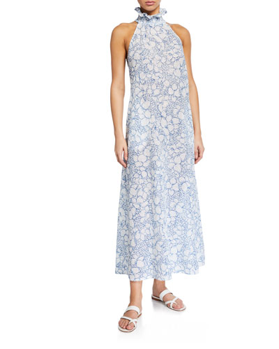 Euboea Floral High-Neck Coverup Dress