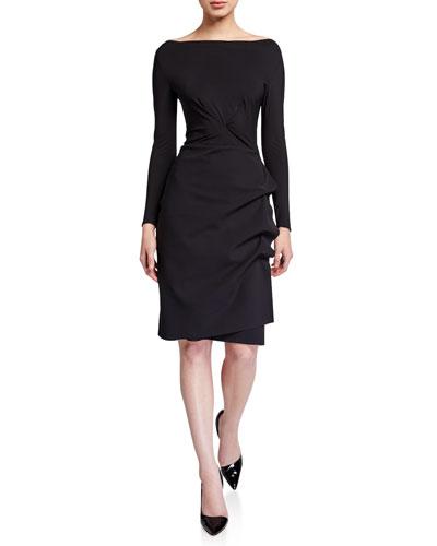 Cassandre Boat-Neck Long-Sleeve Gathered Dress