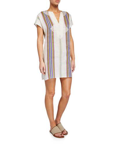 Striped Linen Embroidered Coverup Tunic