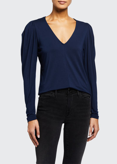 Shirred V-Neck Long-Sleeve Knit Top
