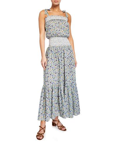 Smocked Floral-Print Coverup Dress