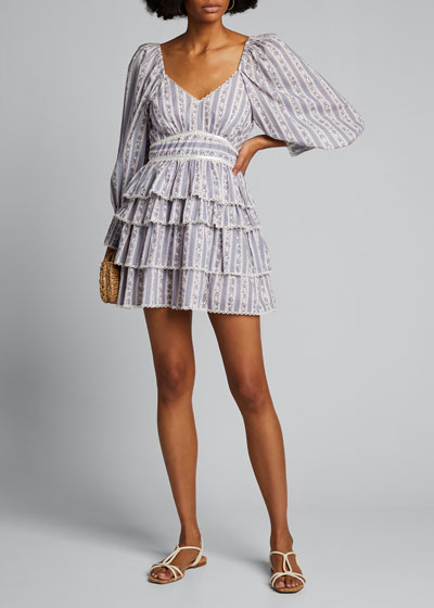 Astor Striped Ruffle-Tiered Dress
