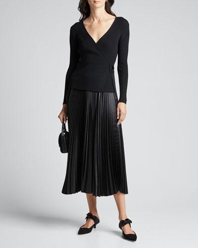 Gardenia D-Ring Wool Wrap Sweater