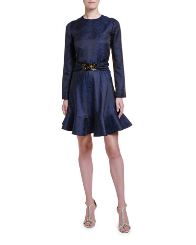Lightweight Silk-Jacquard Flounce Dress