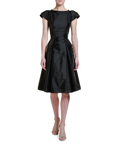 Shantung Lady Dress with Tortoise Shell Trim