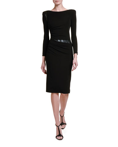 Ruched Jersey Leather-Waist Dress