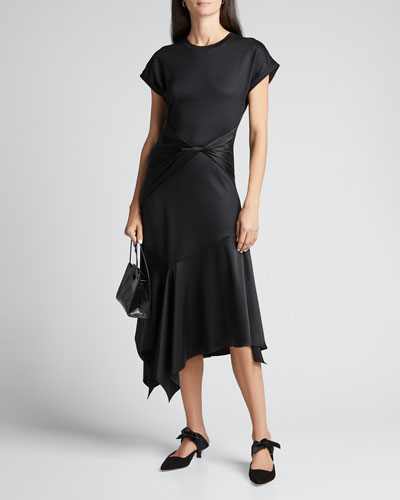 Giovanna Twist-Front Handkerchief Dress
