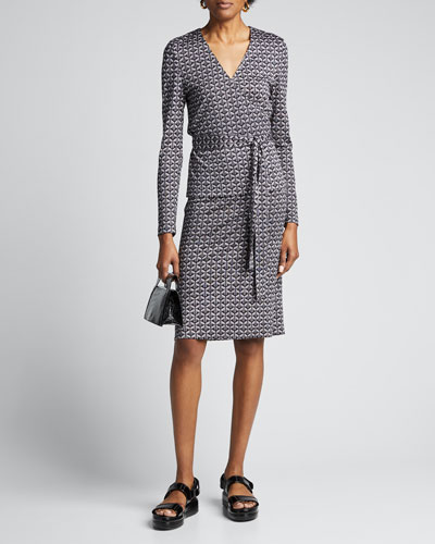 Karis Geo-Print Long-Sleeve Wrap Dress