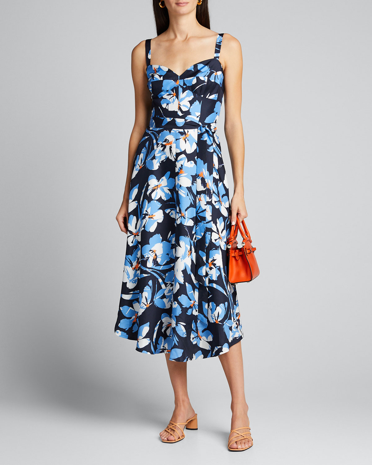 Milly Dresses HIBISCUS PRINT SILK TWILL BUSTIER MIDI DRESS