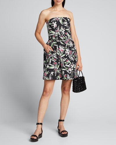 Painted Floral Strapless Cross Wrap Faille Dress