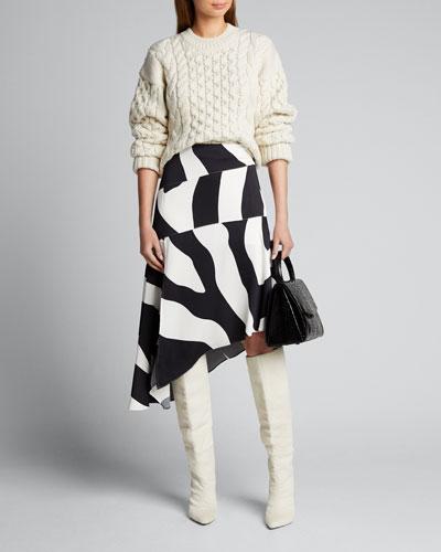 Zebra Print Asymmetrical Cascade Skirt