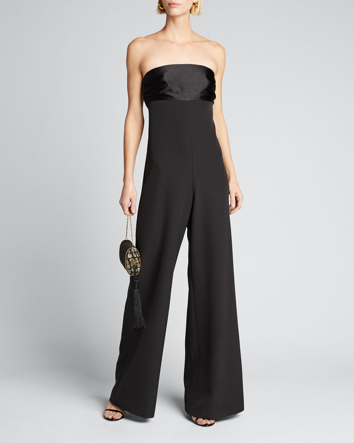 Milly Jumpsuits BROOKE STRAPLESS WIDE-LEG CADY JUMPSUIT