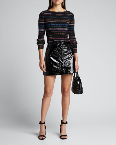 Metallic Striped Boat-Neck Sweater
