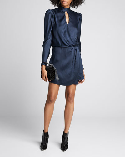 Mock-Neck Wrap Party Dress