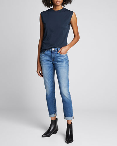 Le Garcon Cuffed Mid-Rise Skinny Jeans