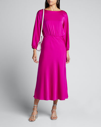 Dia Cowl-Neck 1/2-Sleeve Stretch Silk Midi Dress