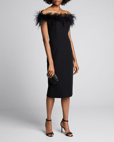 Off-the-Shoulder Feather Bodice Cady Sheath Dress