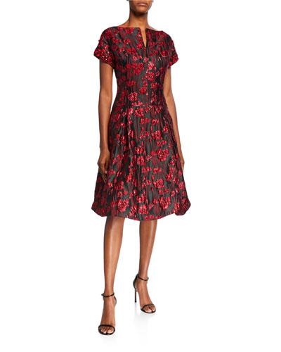 Short-Sleeve Floral Jacquard A-Line Dress