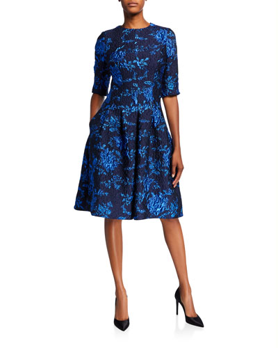 Elbow-Sleeve Textured Jacquard A-Line Dress