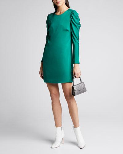 Carina Draped Sleeve Mini Stretch Silk Dress