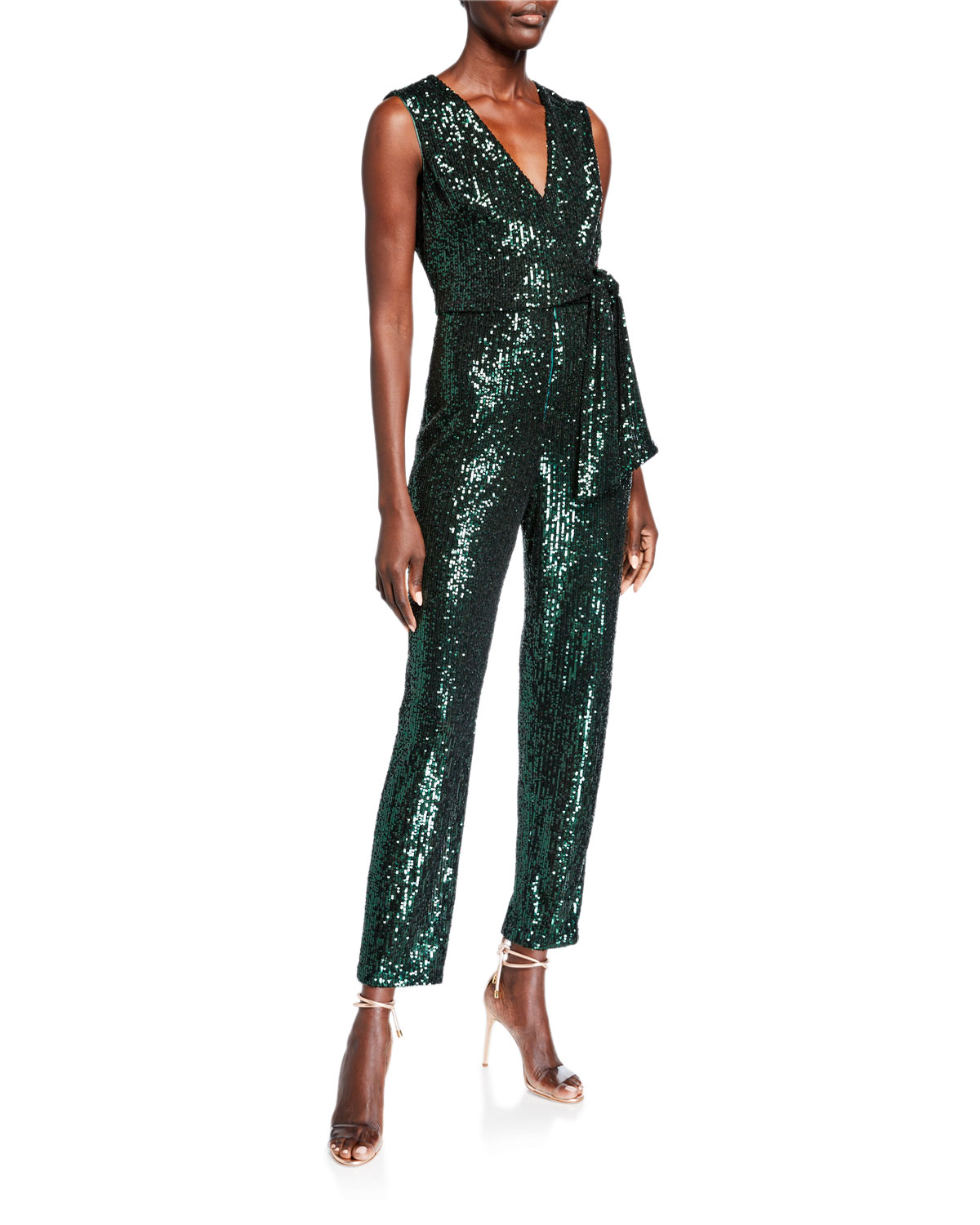 Milly Suits STRETCH MICRO SEQUINS V-NECK SLEEVELESS TIE JUMPSUIT